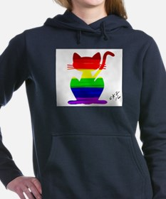 Gay rainbow cat art Women's Hooded Sweatshirt