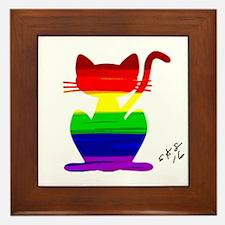 Gay rainbow cat art Framed Tile