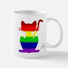 Gay rainbow cat art Mugs