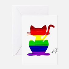 Gay rainbow cat art Greeting Cards