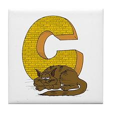 Kids Monogram C Tile Coaster