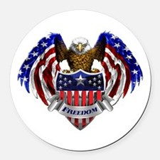 Cool God bless the usa Round Car Magnet