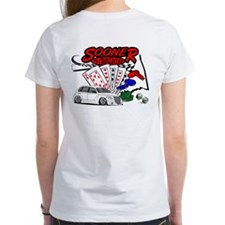 Women's White Sooner Poker T-Shirt