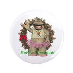 "Heather Hippo 3.5"" Button"