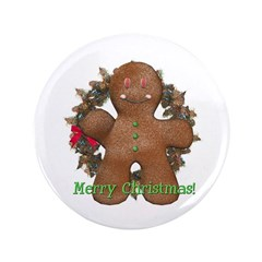 "Gingerbread Man 3.5"" Button"