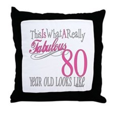 80th Birthday Gift Throw Pillow