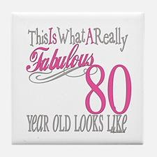 80th Birthday Gift Tile Coaster