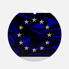 EU Silk Flag Round Ornament