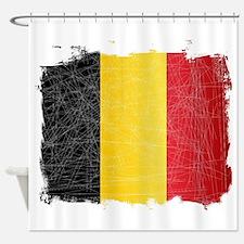 Belgium Flag Grunge Shower Curtain