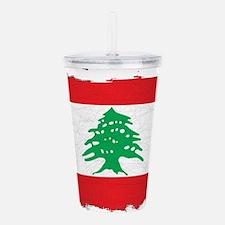 Lebanon Grunge Flag Acrylic Double-wall Tumbler