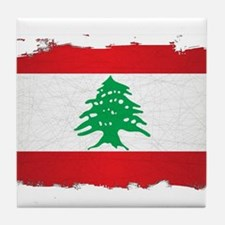 Lebanon Grunge Flag Tile Coaster