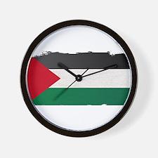 Flag of Palestine Grunge Wall Clock