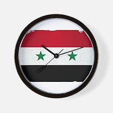 Flag of Syria Grunge Wall Clock
