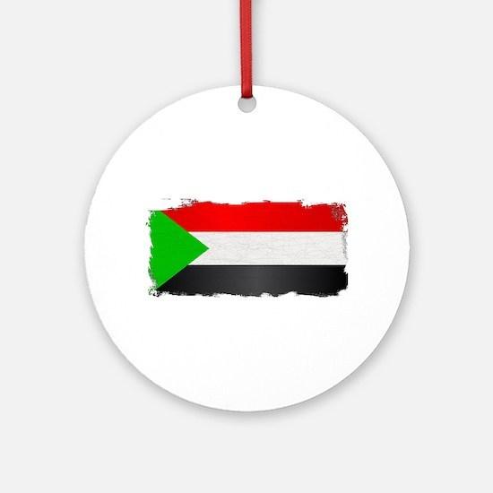 Sudan Flag Grunge Round Ornament