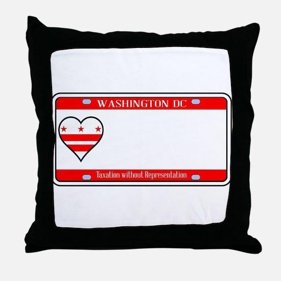 Washington DC License Plate Throw Pillow