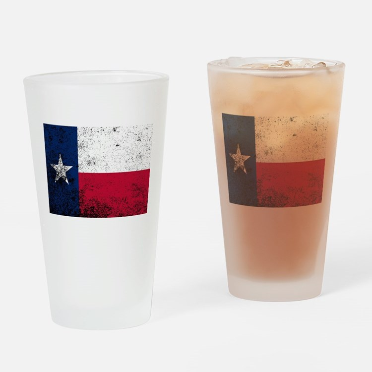 Texas State Flag Grunge Drinking Glass