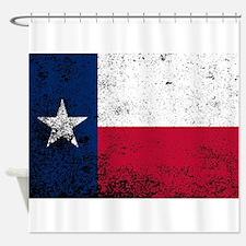 Texas State Flag Grunge Shower Curtain