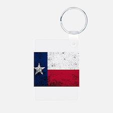 Texas State Flag Grunge Keychains