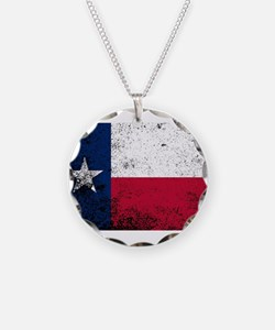 Texas State Flag Grunge Necklace