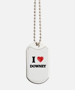 I Heart DOWNEY Dog Tags