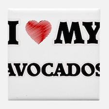 I Love My Avocados food design Tile Coaster