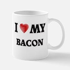I Love My Bacon food design Mugs
