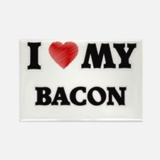 I Love My Bacon food design Magnets
