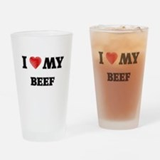 I Love My Beef food design Drinking Glass