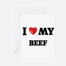 I Love My Beef food design Greeting Cards