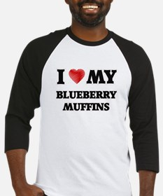 I Love My Blueberry Muffins food d Baseball Jersey