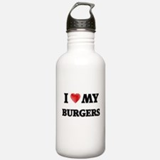 I Love My Burgers food Water Bottle