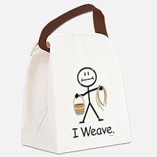 Basket Weaving Stick Figure Canvas Lunch Bag
