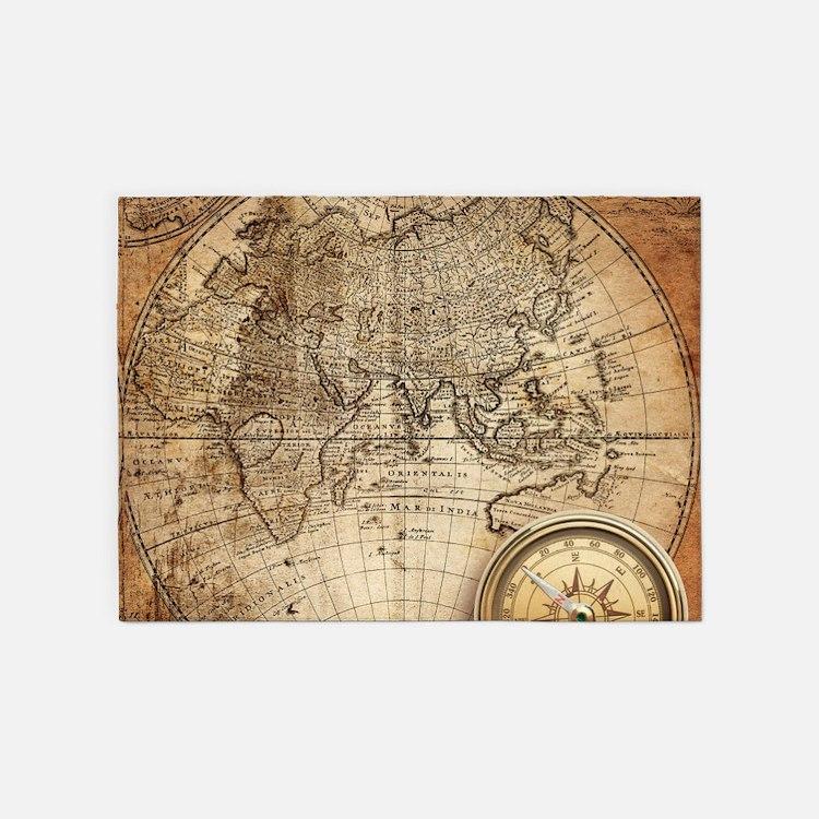 Vintage Map 5'x7'Area Rug