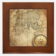 Vintage Map Framed Tile