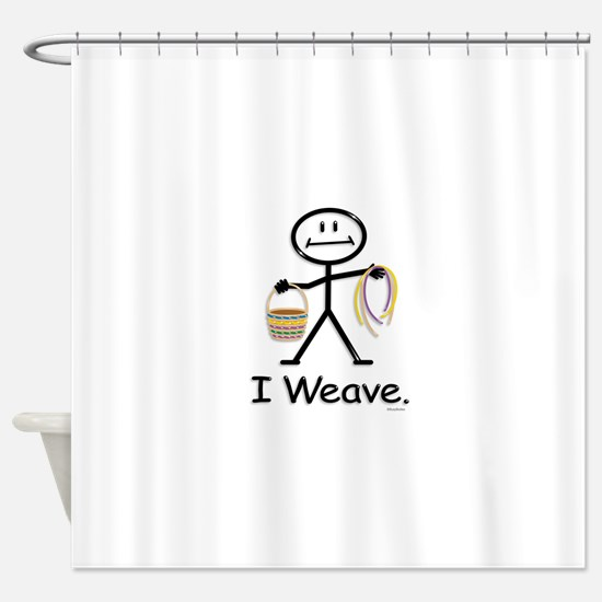 Basket Weaving Stick Figure Shower Curtain