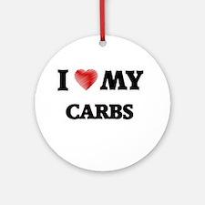 I Love My Carbs food design Round Ornament