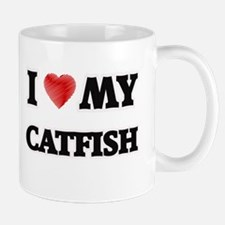 I Love My Catfish food design Mugs