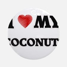 I Love My Coconuts food design Round Ornament