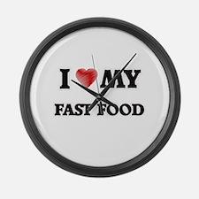 I Love My Fast Food food design Large Wall Clock