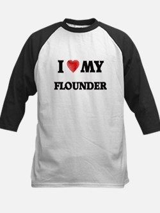 I Love My Flounder food design Baseball Jersey
