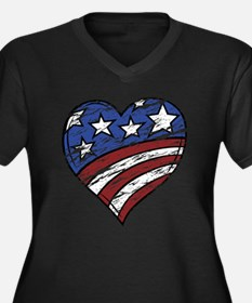 Distressed American Flag Heart Plus Size T-Shirt