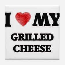 I Love My Grilled Cheese food design Tile Coaster