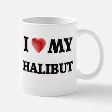 I Love My Halibut food design Mugs