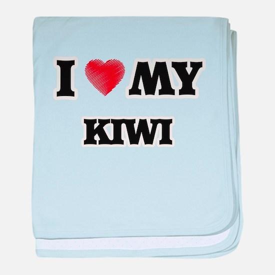 I Love My Kiwi food design baby blanket