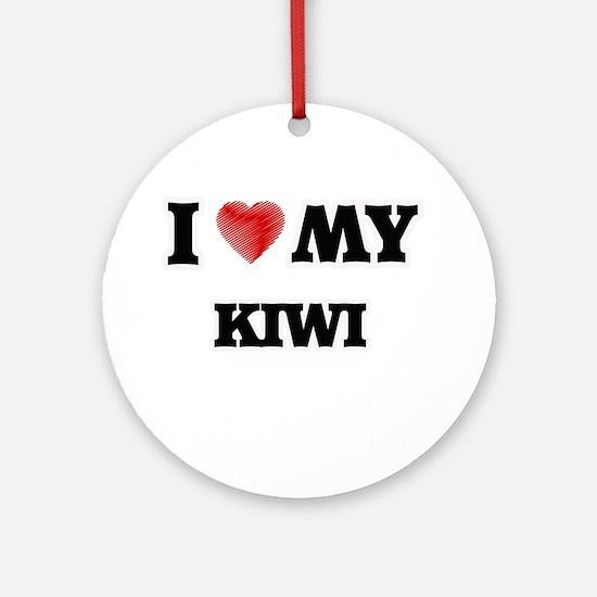 I Love My Kiwi food design Round Ornament