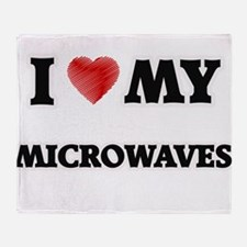 I Love My Microwaves food design Throw Blanket