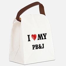 I Love My Pb&J food design Canvas Lunch Bag