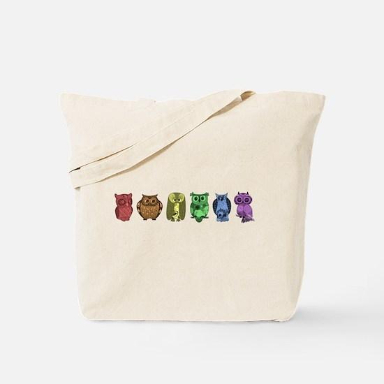 Rainbow Owls Tote Bag