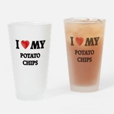I Love My Potato Chips food design Drinking Glass