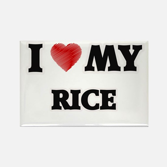 I Love My Rice food design Magnets